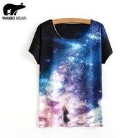 Women 2017 T Shirt Galaxy Space Pretty Girl 3D Print Casual Tops Short Sleeve Cute Funny