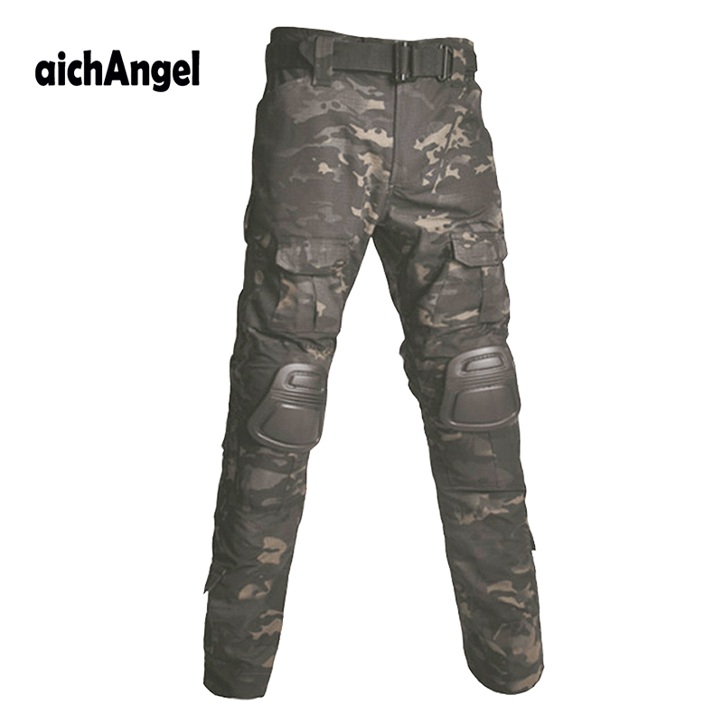 Multicam Camouflage Militar Tactical Pants Army Military Uniform Trouser ACU Airsoft Paintball Combat Cargo Pants With Knee Pads