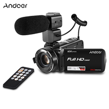 Andoer 1080P LCD Touch screen Video Camera 24MP Digital Camcorder Remote Control Face Detect w/ Wide Angle Lens / Mic(China)