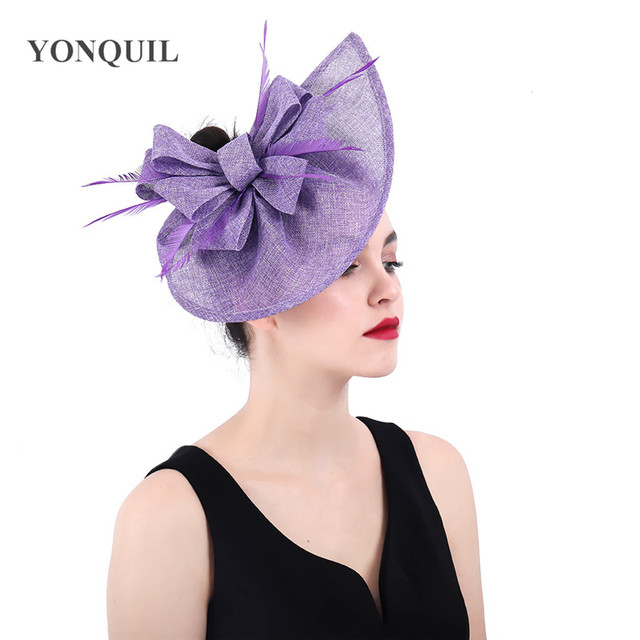 Lavender Fascinator wedding hats kentucky church hats loops fascinators  elegant ladies feather hair accessories with hair clips 355d3398759