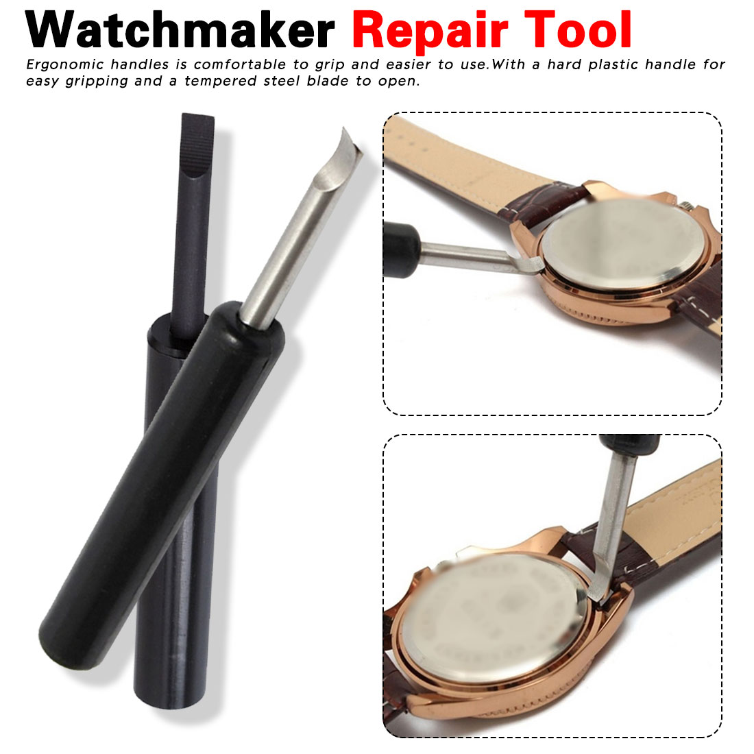 Straight Shank Easier To Open Watch Back Cover Case Opener Screw Wrench Battery Change Watchmaker Repair Tool