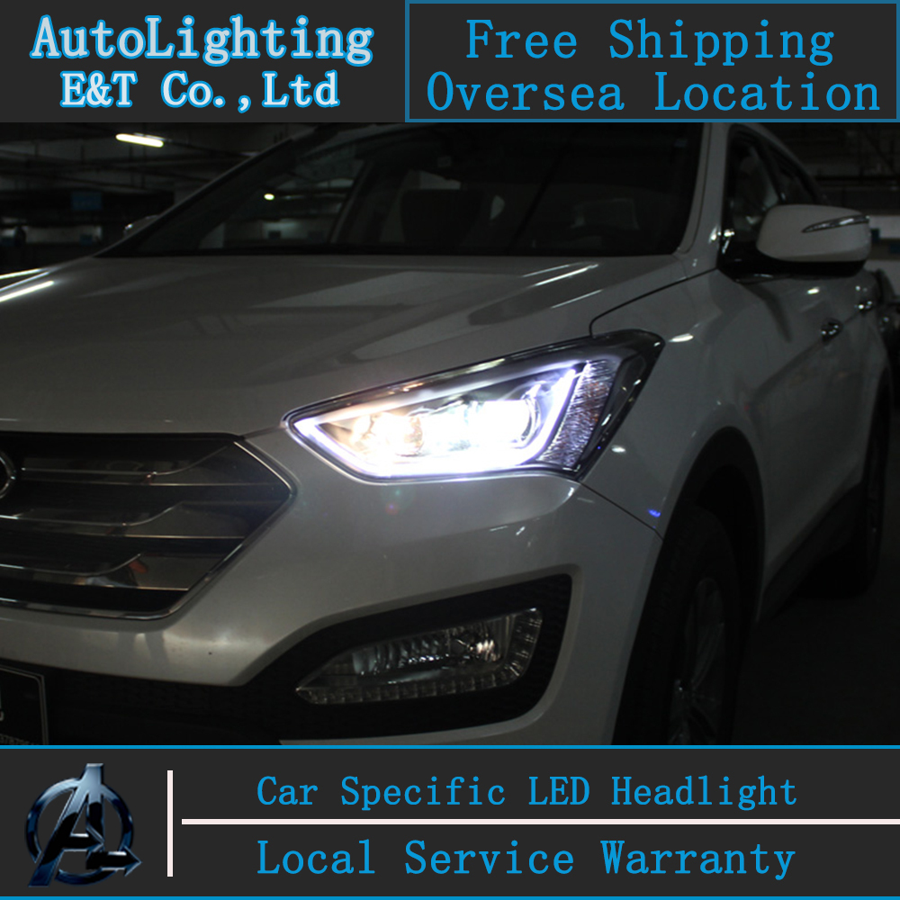 Car Styling Head Lamp IX45 headlight assembly 2013-2014 For Hyundai LED Headlight angel eye led drl H7 with hid kit 2 pcs. car styling led head lamp for hyundai ix35 led headlight assembly 2010 2014 tuscon headlights drl h7 with hid kit 2pcs