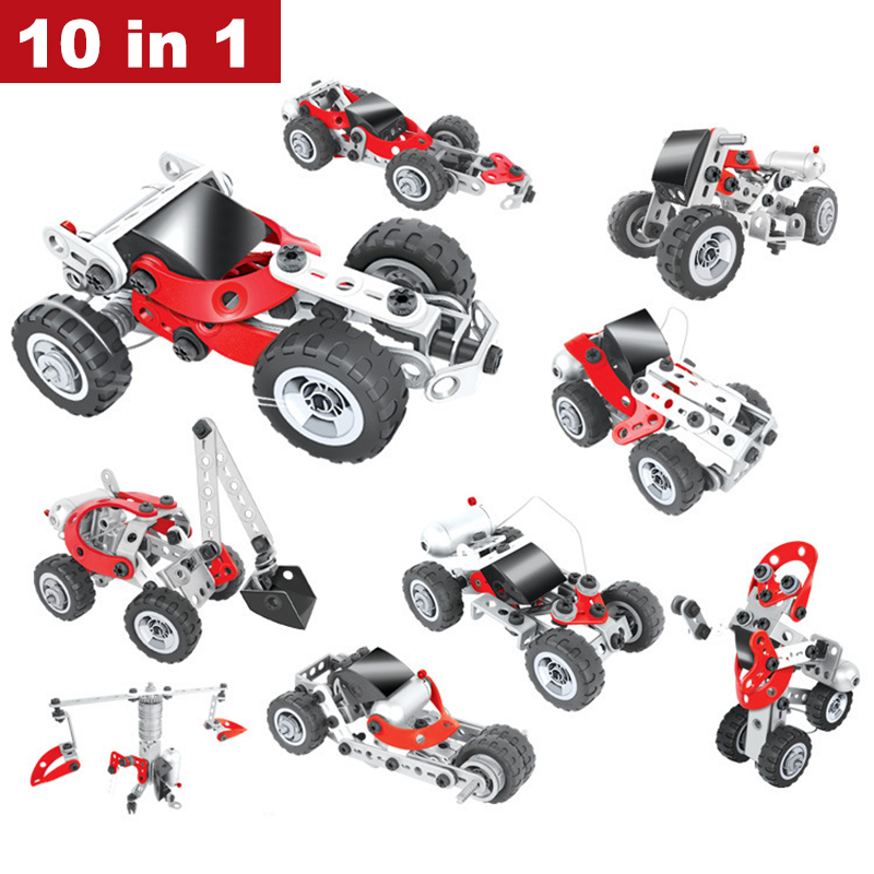 10 In 1 Creative Assembled Electric Car Model Building Blocks Screw Nut Combination DIY Puzzle Toy for Children Indoor Hobby universe ru bun lock children puzzle toy building blocks