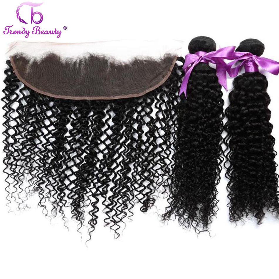 Peruvian Kinky Curly 2 Bundles with Lace Frontal Closure 8 26 inches Non remy human hair