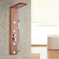 Роскошные розовое золото отделка Душ Панель стену ванной душа Установить смеситель