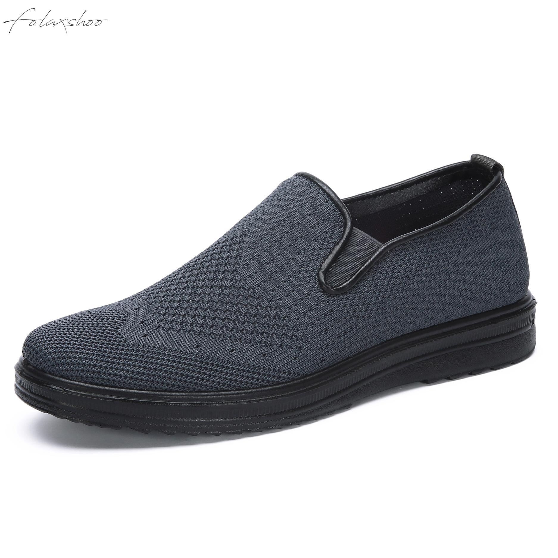 Folaxshoo Men's Casual Shoes Breathable Flats Footwear Walking Mesh Loafers Lightweight Slip-on Summer Men Soft Woven Moccasins
