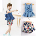 2017 New fashion girl's clothing set bow denim t-shirt+floral shorts 2pcs/set children summer set top quality baby set Retail