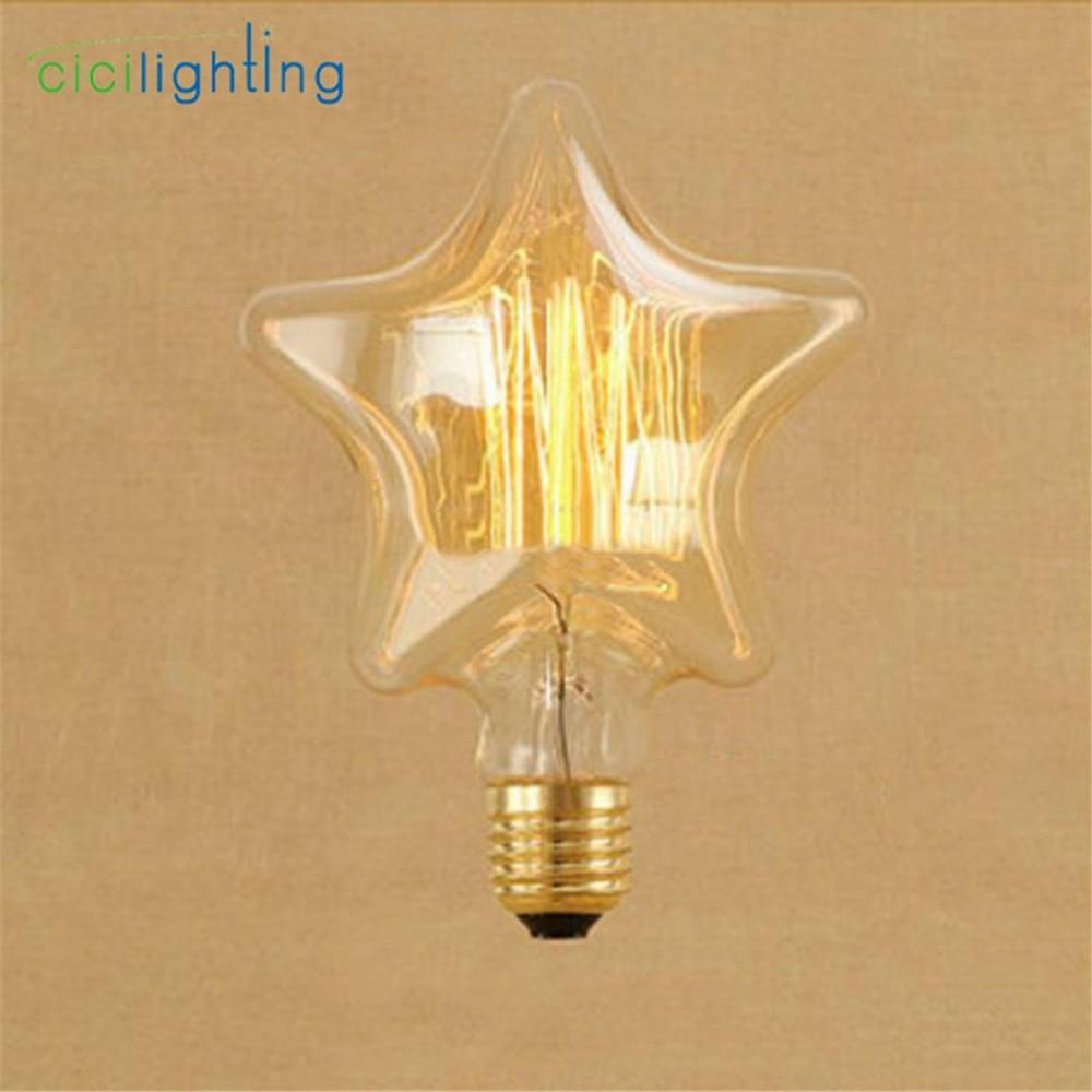 Edison Bulb E27 220V 40W Five Star Retro Lamp filament Bulb edison lamp Incandescent Light bulb ampoule vintage Lamp For decor