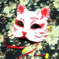 Half Face Japanese Style Hand-Painted Fox Mask Kitsune Mononoke Pattern Cosplay Masquerade for Party Halloween