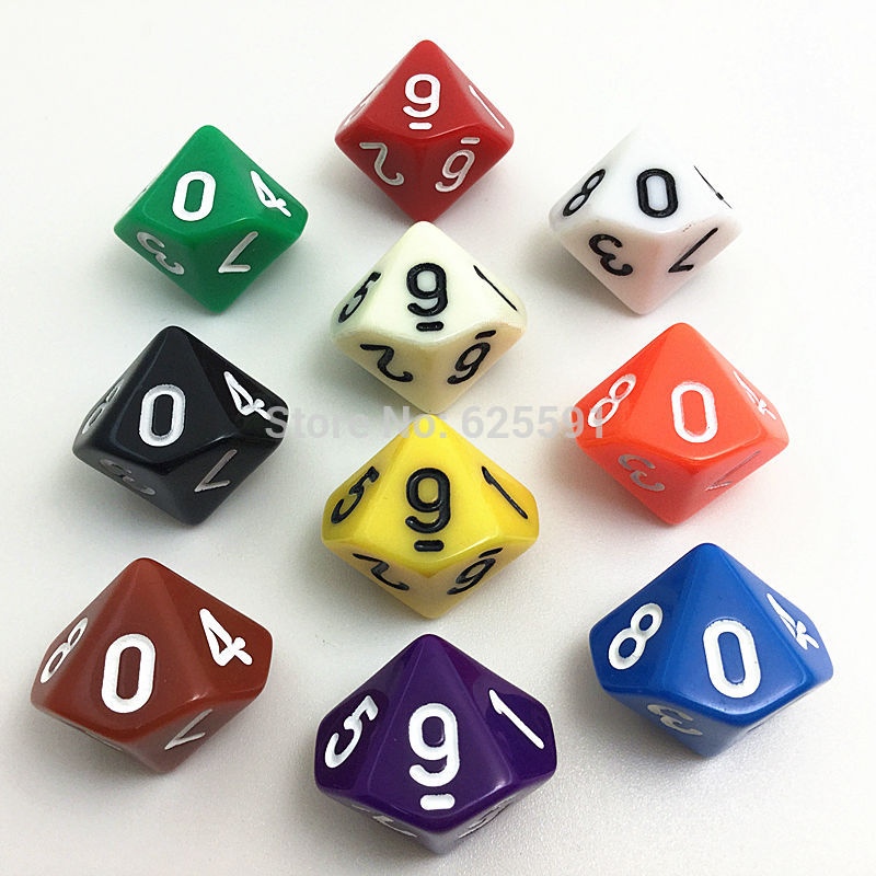 10pcs/set T&G High Quality Colorful D10 Dice Set Opaque Effect,dnd 10 Side Digital Number 0-9 For Rpg Game