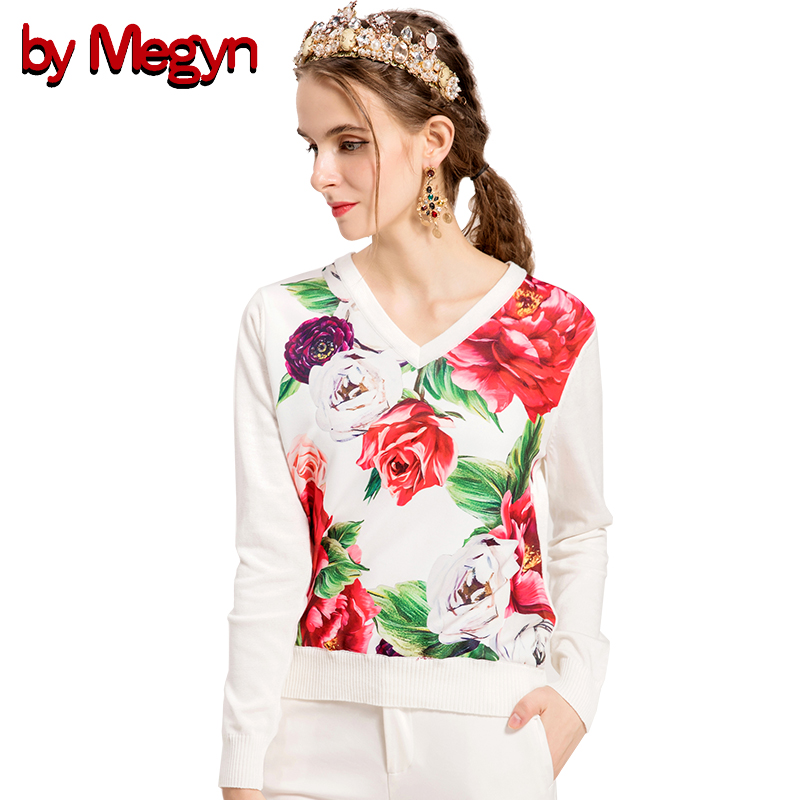 By Megyn Women Pullover Sweater 2019 Autumn Winter Sweaters Women Sexy V-neck Floral Rose Print Fashion Casual Sweater Jumper