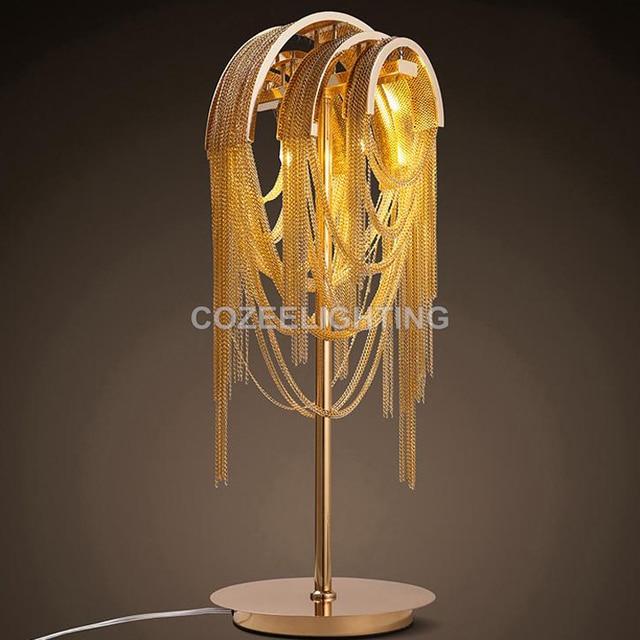 Catena In Alluminio dorato Lampada Da Tavolo Classica lampada da ...