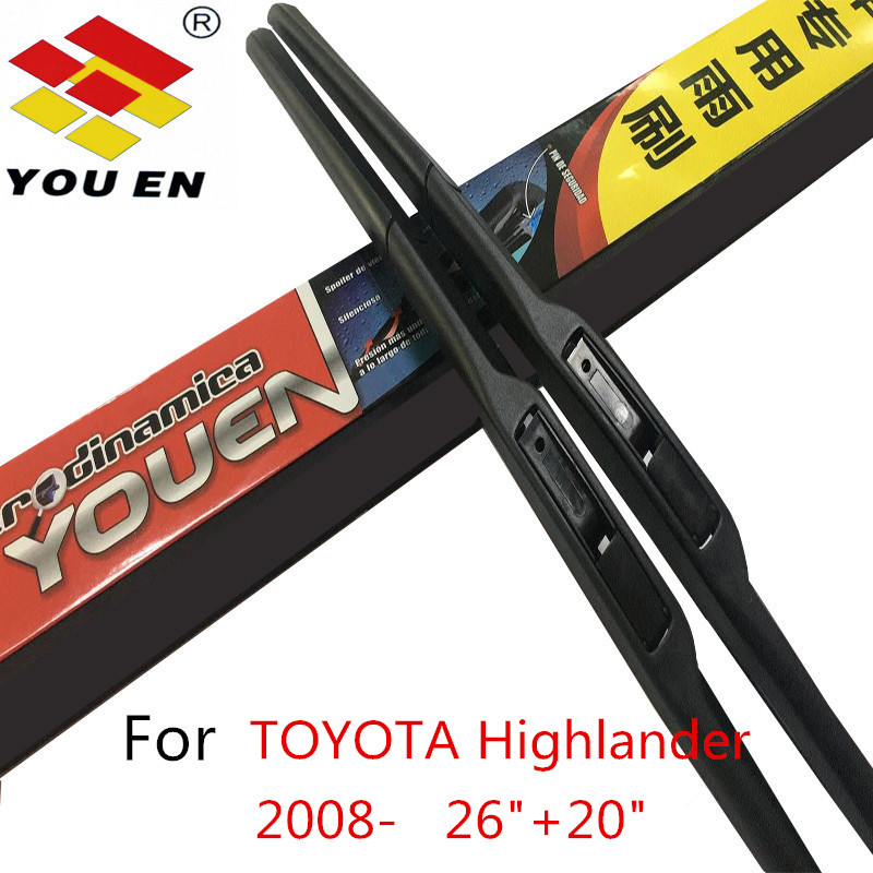 YOUEN Car Windshield Wiper Blade For TOYOTA HIGHLANDER (2008-) ,20+26,Natural rubber , Auto Car Accessories Styling