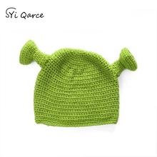2d377fa887a4ae SYi Qarce Balaclava Monster Shrek Wool Hat Women Winter Warm Knitted Hat  Funny Beanie Skullies Cap