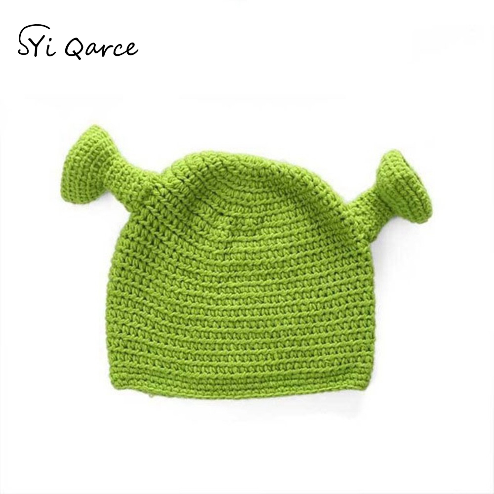 SYi Qarce Balaclava Monster Shrek Wool Hat Women Winter Warm Knitted Hat Funny   Beanie     Skullies   Cap for Women Men Hat NM656