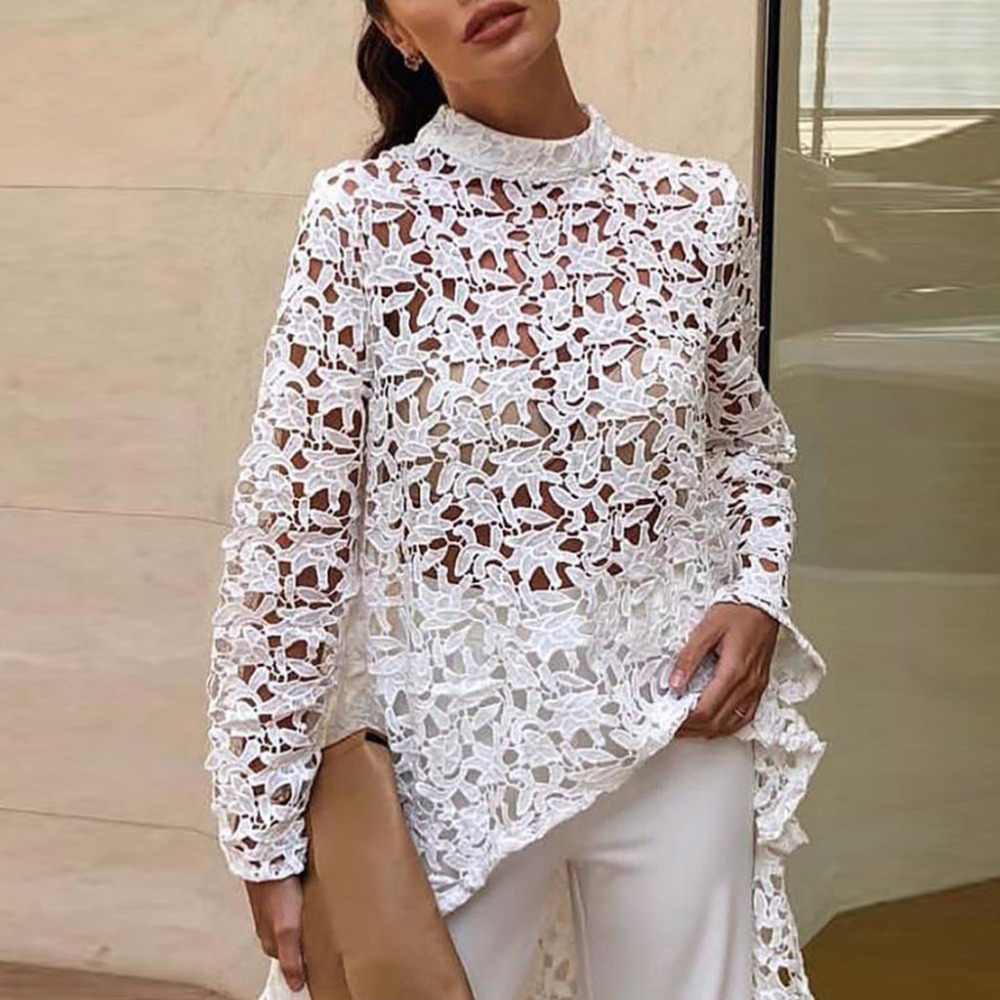Elegant Floral Lace   Blouse     Shirt   Women Lantern Sleeve White   Blouse   Spring Summer Hollow Out Tops   Blouse   Blusas Plus Size Fashion