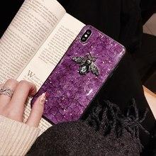 phone case for huawei mate 20 9 10 8 pro 20x nova 2 2s plus 3 3i 4 Luxury diamond metal Marble glitter bee silicone