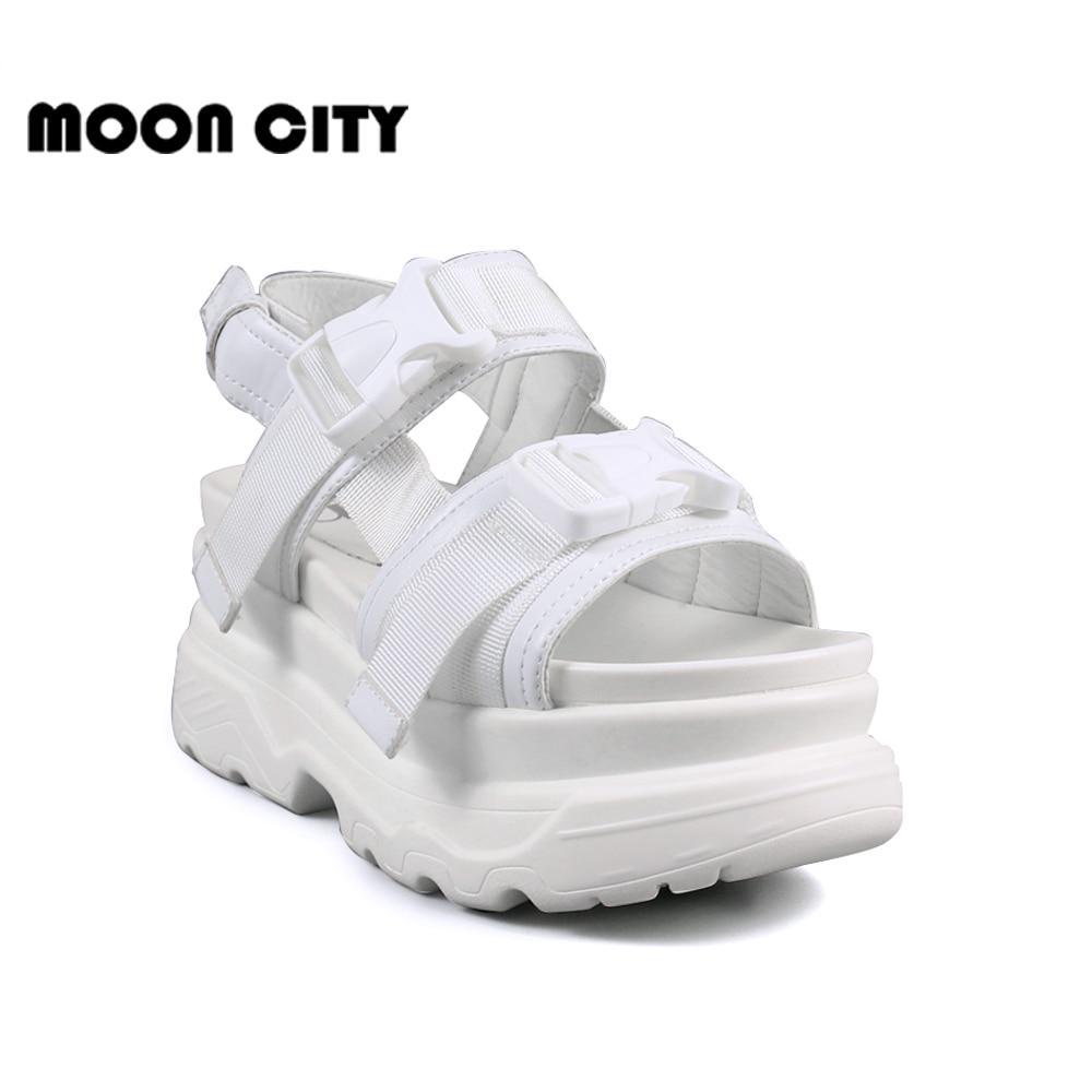Rasmeup 8 Cm Frauen Plattform Sandalen 2019 Mode Sommer Frauen Strand Chunky Sandale Casual Komfort Dicken Sohlen Frau Schuhe Schwarz Frauen Schuhe Schuhe