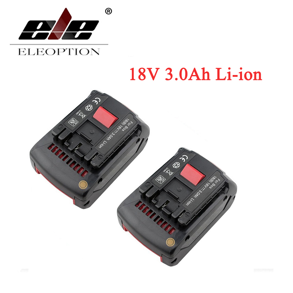 ELEOPTION 2PCS For Bosch BAT618 Power Tool Battery 18V 3000mAh for BAT609 BAT618G 336 169 GKS 18 V-LI CCS180 FHN180 RHH180 1761 power tool battery charger for bosch 14 4v bat038 bat040 bat041 bat140 bat159 2 607335264 2 607335276
