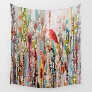 Image 4 - CAMMITEVER Dropshipping aslan kuş gözü çiçek astronot goblen renkli goblen duvar asılı baskılı dekorasyon