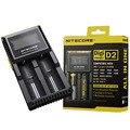 Original nitecore digicharger d2 lcd adpter carregador carregadores de bateria recarregável para i aaa aa 18650 26650 10440 carregador