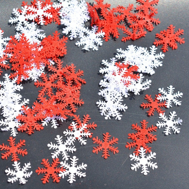 100pcs Snowflakes Christmas Tree Window DIY Hanging Ornaments Non woven Confetti Xmas Party Home Table Decoration Supplies in Banners Streamers Confetti from Home Garden