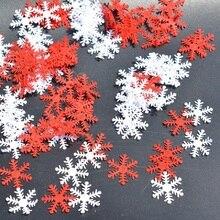 Copos de nieve para árbol de Navidad/ventana, adornos colgantes artesanales, confeti no tejido, suministros para decoración de mesas para el hogar, 100 Uds.