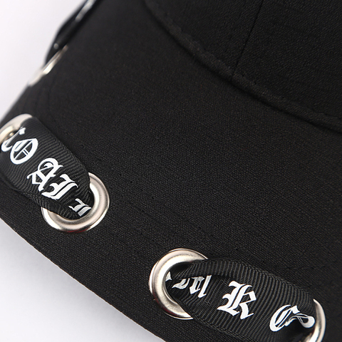 Men&Women Fashion Long Belt Ribbon Black Baseball Caps 2018 Fashion Summer New Hip Hop Cap With Ring Snapback Hat Unisex Punk Islamabad