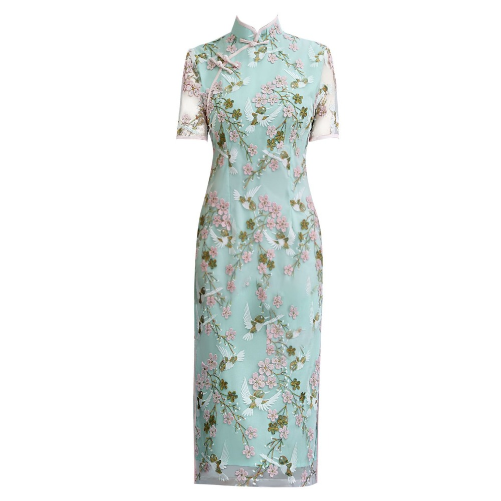 Light Green Chinese Women s Elegant Lace Short Lady Mandarin Collar Qipao Handmade Button Cheongsam Sexy