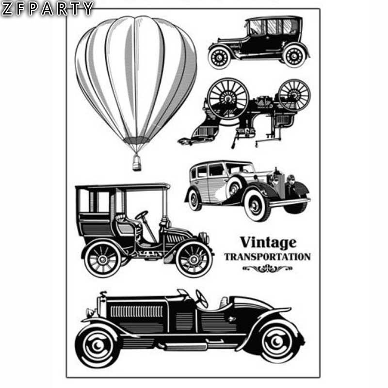 ZFPARTY Classic Cars Transparent Clear Silicone Stamp for