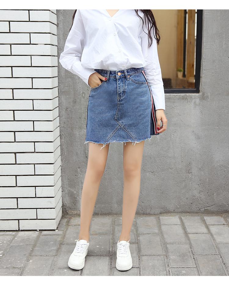 HTB1t0gBQXXXXXaJXVXXq6xXFXXXZ - Denim Skirts Striped Slim A Line High Waist Blue Jeans Skirt PTC 154