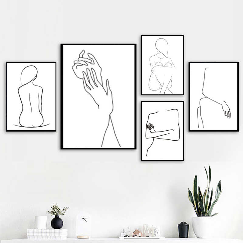 LZN Abstract Lady Body Line Drawing Poster&Prints Modern Home Decor Canvas Painting Modular Wall Picture Girls Bedroom Wall Art