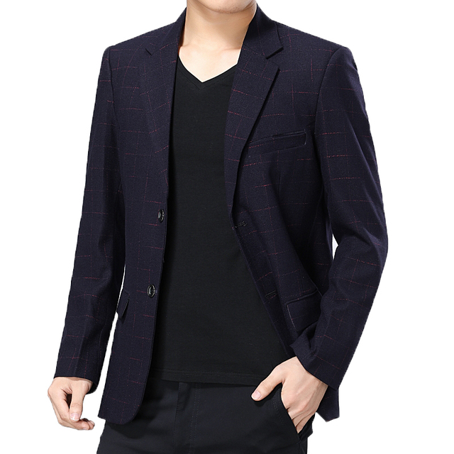 WAEOLSA Elegance Men Blazers Navy Blue Wine Red Suit Jackets Mans Plaid Blazer Masculino Slim Fit Suit Coat Male Uniform Office