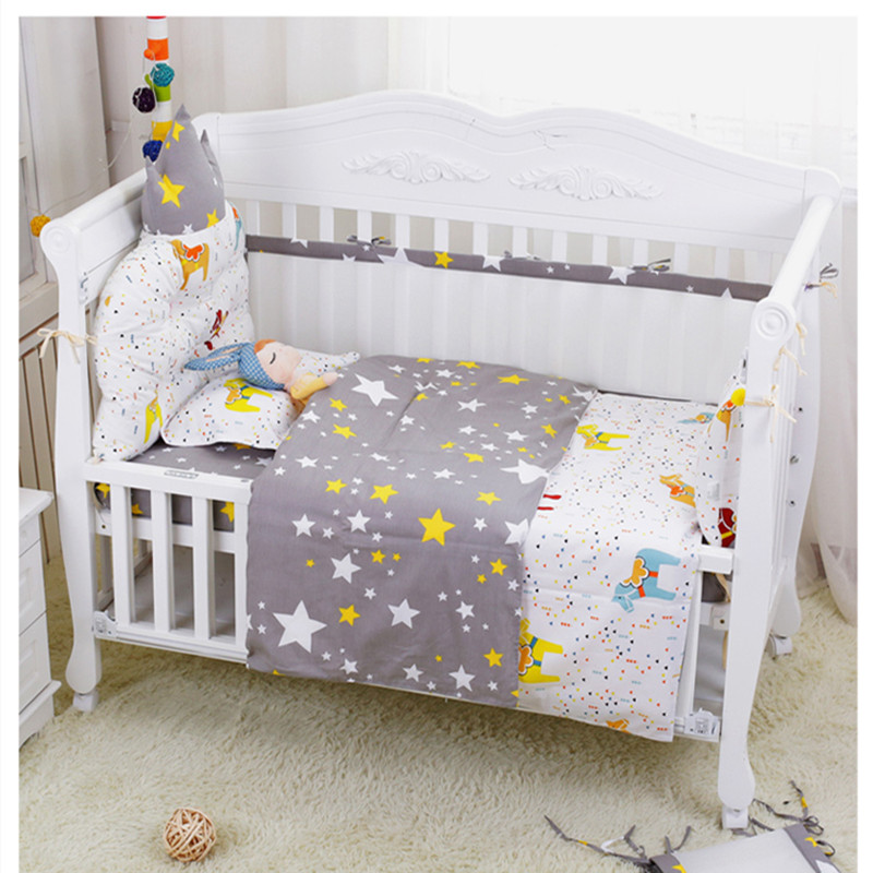 Newborn Crib Bed Linen Four Seasons Pure Cotton Baby Cot Bedding Set Colorful Cartoon Baby Bedding Set Kids Room Decor 7Pcs/Set
