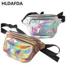 цена HLDAFA 2019 Fashion New Men Laser Waist Bag Leather Belt Waterproof Bag Phone Women Thighbags Fanny Pack Holographic Leg Bag