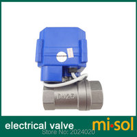 10 pcs of motorized ball valve DN25 (G1 , BSP, reduce port), 2 way, electrical valve with manual switch, , Stainless steel