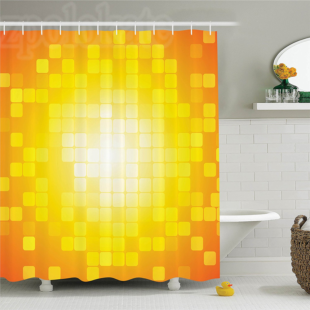 Yellow Decor Shower Curtain Set Mosaic Retro Square Shapes And ...