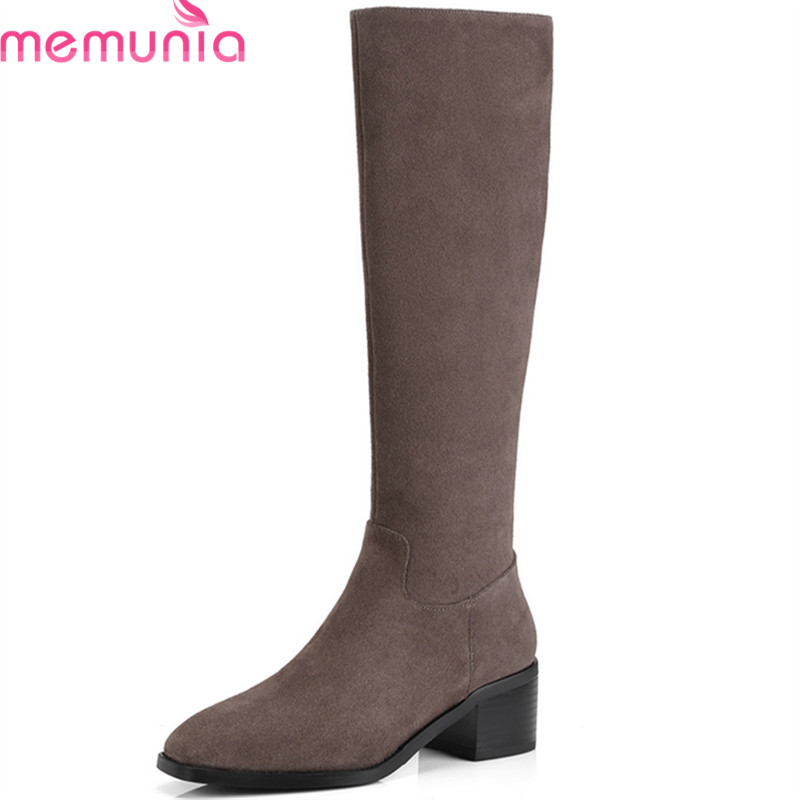 MEMUNIA 2018 new arrival knee high boots women suede leather autumn boots square toe fashion casual shoes woman big size 34-39 memunia slip on womens boots in autumn winter high heels shoes woman knee high boots fashion sweet platform boots big size 34 45