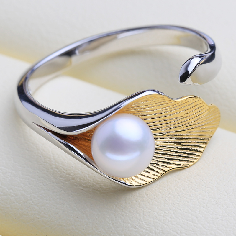 FENASY 925 Sterling Silver Ring Female Leaf Shape Natural Freshwater Pearl Rings For Women Fine Jewelry