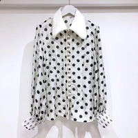 Блузка в горошек мода 2019 г. с длинным рукавом для женщин блузки для малышек и топы корректирующие летняя белая рубашка повседнев