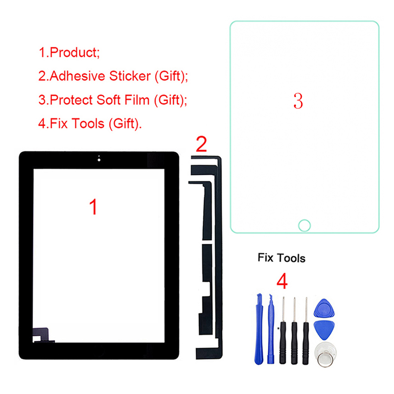 Digitizer A1396 Front-Glass-Panel-Replacement Touch-Screen Tested iPad for 2/2nd-gen/A1395/..