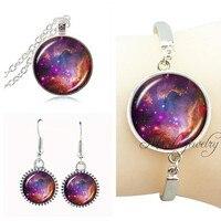 2018 zestaw biżuterii posrebrzanej space Nebula wisiorek gwiazda galaxy komunikat naszyjnik i kolczyki biżuteria ustaw kobiety akcesoria