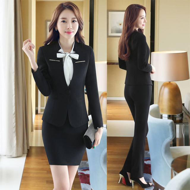 c76871b25acd5 Plus Size 4XL Professional Formal Pantsuits Business Women Work Wear With  Jackets + Pants Female Pants Suits Trousers Set