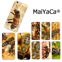 MaiYaCa amarillo animal bee lujosa funda de teléfono de moda para iPhone 8 7 6 S Plus X 10 5 5S SE XS XR XS MAX Coque Shell(China)