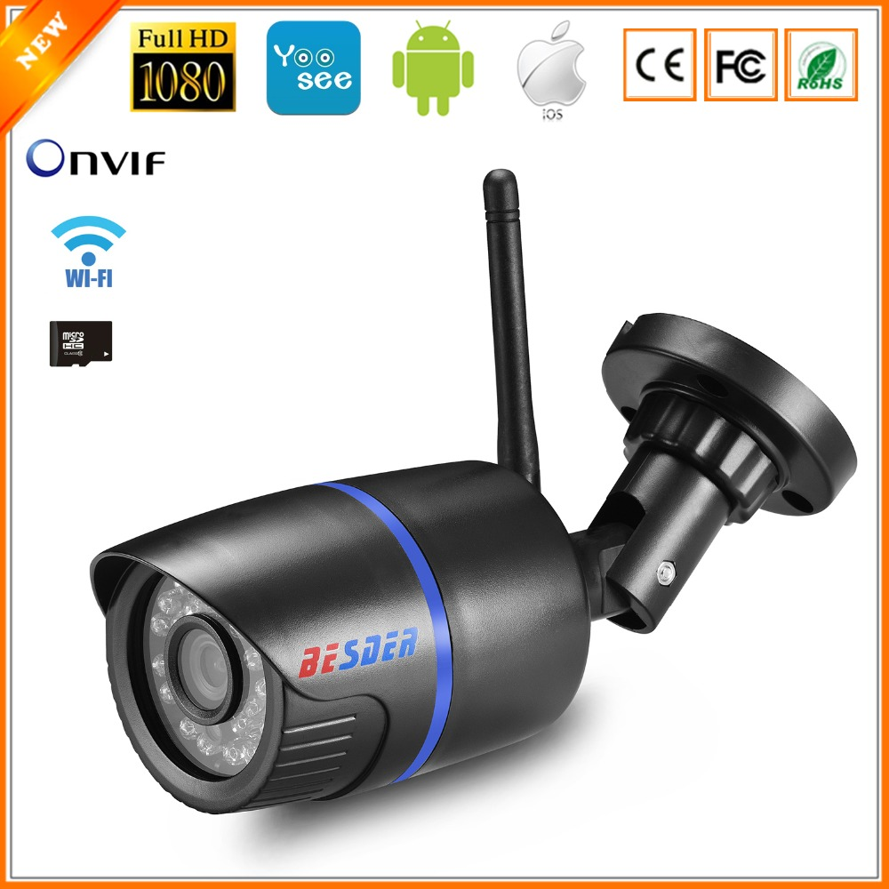 BESDER Ip-Camera Wired Bullet CCTV P2P Wifi 1080p 720P Yoosee ONVIF with Miscrosd-Card-Slot