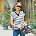 2016 Fashion Striped Cotton Polo Shirts Woman Slim  Short Sleeve Polo Femme Women Shirt Slim polos mujer Causal Design B003
