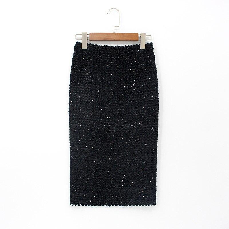 2018 Womens Skirts Saia Bodycon High Waist Elasticity Long Pencil Skirt Mid-calf Gold Sequined Wrap Sexy Party Skirt