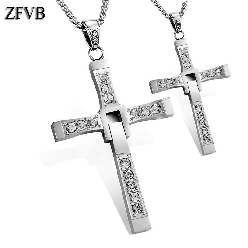ZFVB Fashion Crystal Cross Pendant Necklaces Men 316L Stainless Steel Fast and the Furious 8 Necklace & Pendants Jewelry Gift