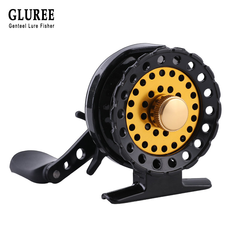 GLUREE Plastic Steel Fishing Rafts Saltwater Fly Fishing Reel 6+1BB 2.6:1 BlackGold Cup Left/Right Hand Bait Casting Front Wheel