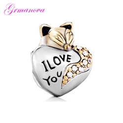 Valentine's Day gift fox golden heart-shaped charm beads DIY handmade jewelry accessories amulet Fit Pandora Bracelet Necklace